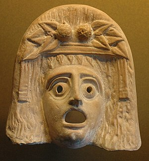 Tragedy - Mask of Dionysus. Greek, Myrina, 2nd century BCE.