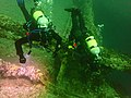 Divers on the wreck of the MV Treasure P9280233.jpg