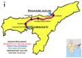 Donyi Polo Express (Guwahati - Naharlagun) Shatabdi Express Route map.png