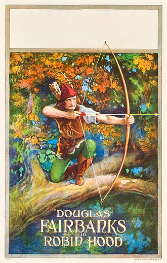 Robin Hood in popular culture - Movie poster for the 1922 United Artists Robin Hood film, starring Douglas Fairbanks.