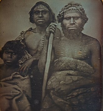 "Koori - Daguerreotype photograph (circa 1847) described as ""Group of Koorie men"" by the National Gallery of Victoria"