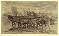 Drawing, Fishermen Beaching a Dory, Cullercoats, England, 1881 (CH 18175087).jpg