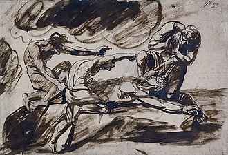 Kratos (mythology) - Image: Drawing of the binding of Prometheus by George Romney