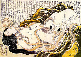 The Dream of the Fisherman's Wife, an 1820 Hokusai woodcut depicting a woman dreaming of a sexual encounter with a pair of octopodes.
