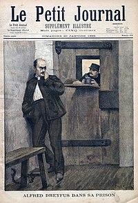 Portada deLe Petit Journaldonde informa del encarcelamiento de Dreyfus.
