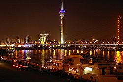 Rhine flowing through Düsseldorf, Germany.