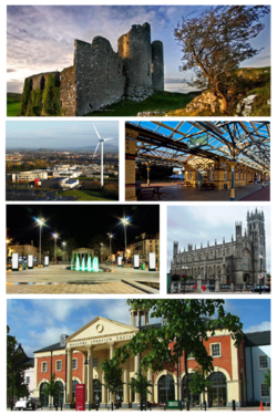 Clockwise frae tap: Castle Roche, Clarke Station, St. Patrick's Pro-Cathedral, The Marshes shoppin centre, Market Square, Dundalk Institute of Technology