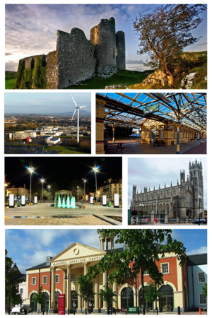 Dundalk - Clockwise from top: Castle Roche, Clarke Station, St. Patrick's Pro-Cathedral, The Marshes shopping centre, Market Square, Dundalk Institute of Technology