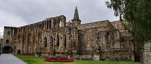 Dunfermline Palace -  The imposing south wall and gatehouse of Dunfermline Palace