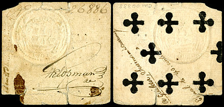 One guilder, playing card money (1801). Prior to the formal introduction of paper currency, playing card money, denominated in Dutch guilders, was used in Dutch Guiana (1761-1826). Dutch Guiana-Suriname-1 Guilder (1801) card money.jpg