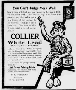 Promotional poster for Dutch Boy lead paint, United States, 1912 Dutch boy collier white lead.png