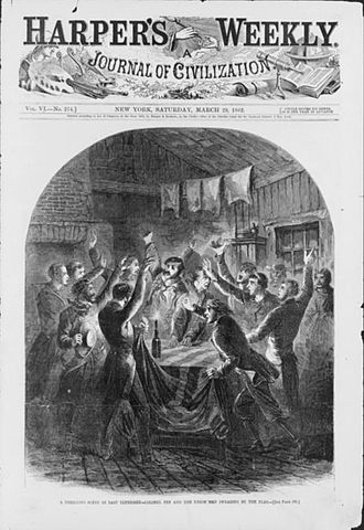 East Tennessee bridge burnings - Cover of Harper's Weekly, showing the bridge-burning conspirators swearing allegiance to the American flag
