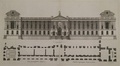 East facade of the Louvre, elevation design by Claude Perrault, engraved by Jean Marot 1676 – Bibliothèque municipale de Valenciennes.png