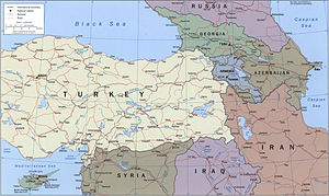 Armenian Highlands - Political map of the region, CIA, 2002