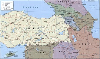 Armenian Highlands - Political map of the region, CIA, 2002