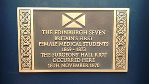 Edinburgh Seven - Historic Scotland commemorative plaque to the Edinburgh Seven and the Surgeons' Hall riot