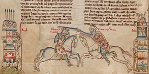 Cnut the Great - Medieval impression depicting Edmund Ironside (left) and Cnut (right)