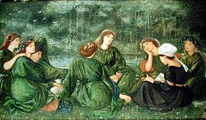Georgiana Burne-Jones - Green Summer, watercolour by Edward Burne-Jones, 1864. Louisa and Agnes Macdonald, Jane Morris, and others listening to Georgiana reading aloud in the garden at Red House.