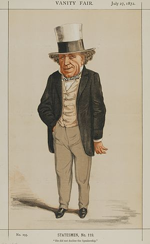 "Edward Pleydell-Bouverie - ""He did not decline the Speakership"" Pleydell-Bouverie as caricatured in Vanity Fair, July 1872"