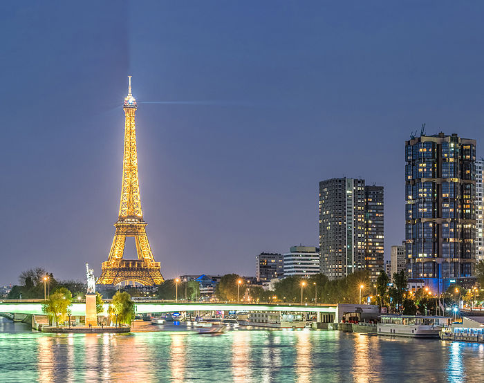 Eiffel Tower and Front de Seine quarter from Pont Mirabeau, 12 April 2014.jpg