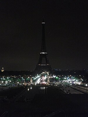 100th anniversary of the Armenian Genocide - Eiffel Tower goes dark in commemoration of the 100th year anniversary of the Armenian Genocide.