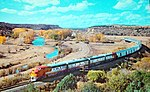 Postcard view of El Capitan passing through Shoemaker Canyon, New Mexico, in the 1950s