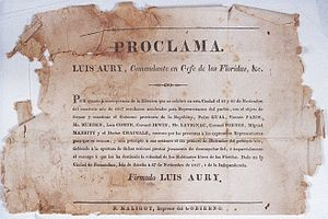 "Amelia Island - After the Island of Amelia was taken over by filibusters under the command of French pirate Louis Michel Aury in 1817, he proclaimed the ""Republic of Florida"" and announced elections. The image shows the document by which he announced the results of these elections (in Spanish). It is signed Louis Aury."