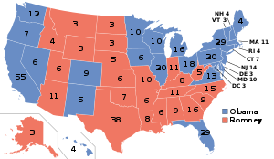 English: Electoral college map for the 2012, 2...