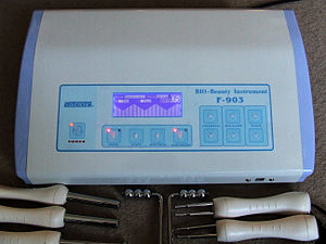Electrotherapy (cosmetic) - Cosmetic Electrotherapy micro-current machine together with a selection of electrodes, made by Silver Fox (China)