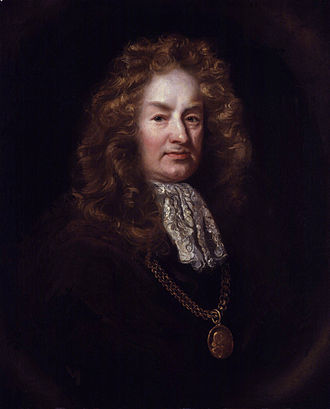 Elias Ashmole - Elias Ashmole by an unknown artist (detail), c. 1688, after the portrait by John Riley, below