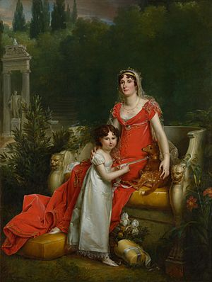Elisa Bonaparte with her daughter Napoleona Baciocchi, by François Gérard, scan by Google Cultural Institute