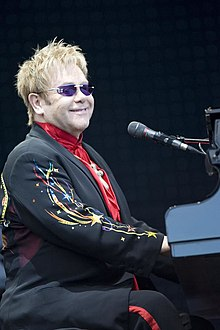 John performing at the Keepmoat Stadium in Doncaster, July 2008.