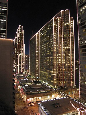 One Embarcadero Center - One Embarcadero standing tall behind Three- and Two-Embarcadero illuminated for the holidays.