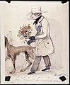 En man på väg att uppvakta med blommor. Akvarell av Fritz von Dardel - Nordiska museet - NMA.0042430.jpg
