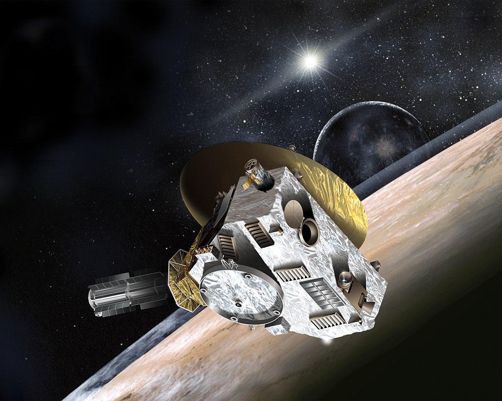 umělecká představa průletu sondy New Horizons nad povrchem Pluta