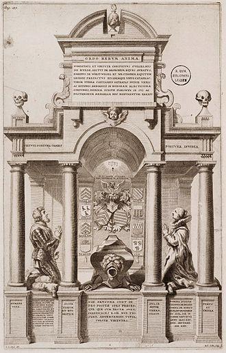 Richard Collin - Engraving by  Richard Collin after a design by Erasmus Quellinus II of the Tomb of Willem van der Rijt and Judith van Aeswyn, 1641, Sint-Gertrudiskerk, Bergen op Zoom