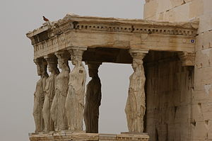 Peace (play) - The Erechtheion: work on this iconic building began in 420 BC during the Peace of Nicias, not long after the performance of Peace at the City Dionysia.