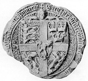 Eric of Pomerania - Royal seal of Eric of Pomerania (1398) depicting: (Centre): a lion rampant crowned maintaining an axe (representing Norway) within an inescutcheon upon a cross over all; Quarterly: in Dexter Chief, three lions passant in pale crowned and maintaining a Danebrog upon a semy of hearts (representing Denmark); in Sinister Chief: three crowns (representing Sweden or the Kalmar Union); in Dexter Base: a lion rampant (Folkung lion) (representing Sweden); and in Sinister Base: a griffin segreant to sinister (representing Pomerania).