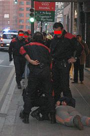 Ertzainas inmovilizan a un detenido