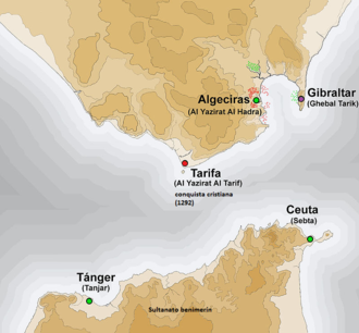 Map of the Strait of Gibraltar, with dots at Tarifa, Algeciras, Gibraltar, Tangiers, and Ceuta
