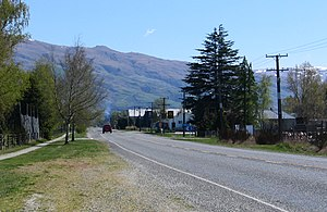 Ettrick, New Zealand - Looking along State Highway 8 at Ettrick