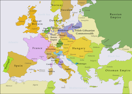 The Habsburg Monarchy at the time of Joseph II's death in 1790. The red line marks the borders of the Holy Roman Empire. Europe 1783-1792 en.png