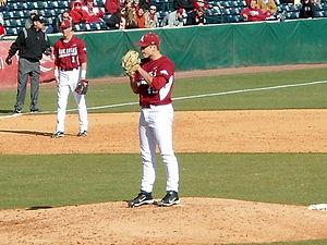 2013 Arkansas Razorbacks baseball team - Jalen Beeks, a relief pitcher from Prairie Grove, Arkansas, made his Razorbacks debut in game two with Western Illinois