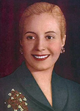 Official portrait of Eva Peron in 1951, a few months before her death Evita color.jpg