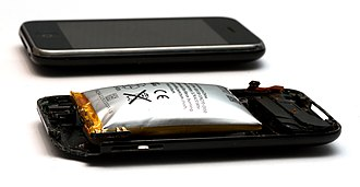 Lithium polymer battery - Apple iPhone 3GS's Lithium-ion battery, which has expanded due to a short circuit failure.