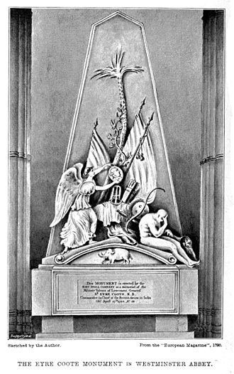 Eyre Coote (East India Company officer) - Memorial at Westminster Abbey by Thomas Banks