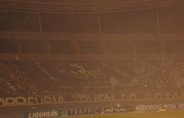 Bandeir�o em homenagem a Garrincha no Engenh�o, est�dio do Botafogo, em 2008.