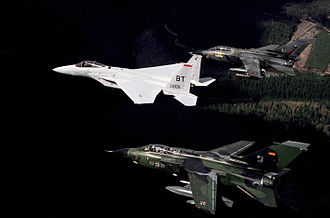 Panavia Tornado - A USAF F-15C flanked by Luftwaffe and RAF Tornados in 1987