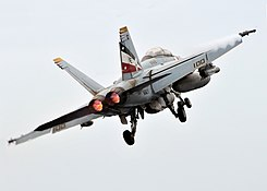 F-18F after launch from USS Abraham Lincoln (CVN-72).jpg