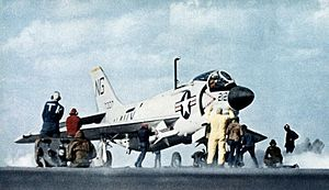 F3H-2N VF-92 with AIM-7s on cat of USS Ranger (CVA-61) c1961.jpg